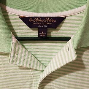 Brooks Brothers L Supima Polo Shirt Green White